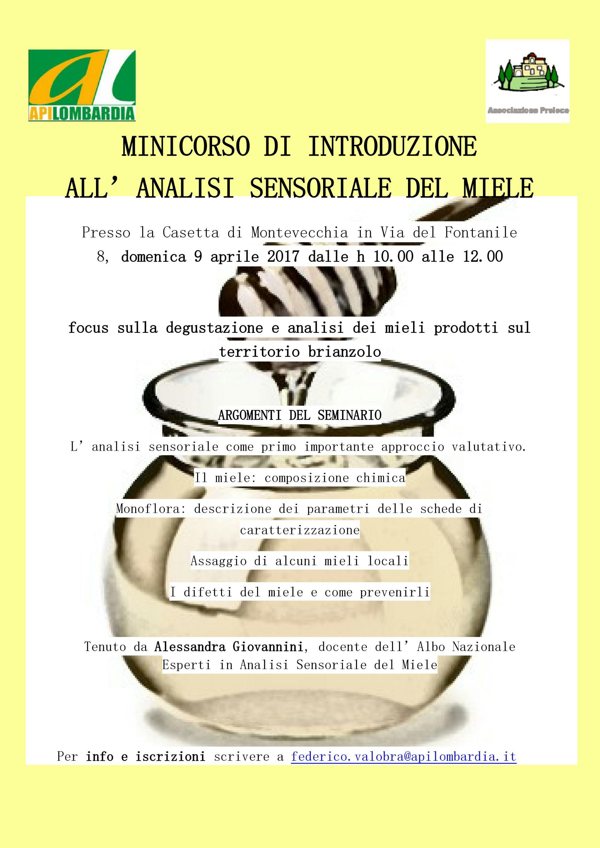 Minicorso introduzioneall'analisi sensoriale del miele
