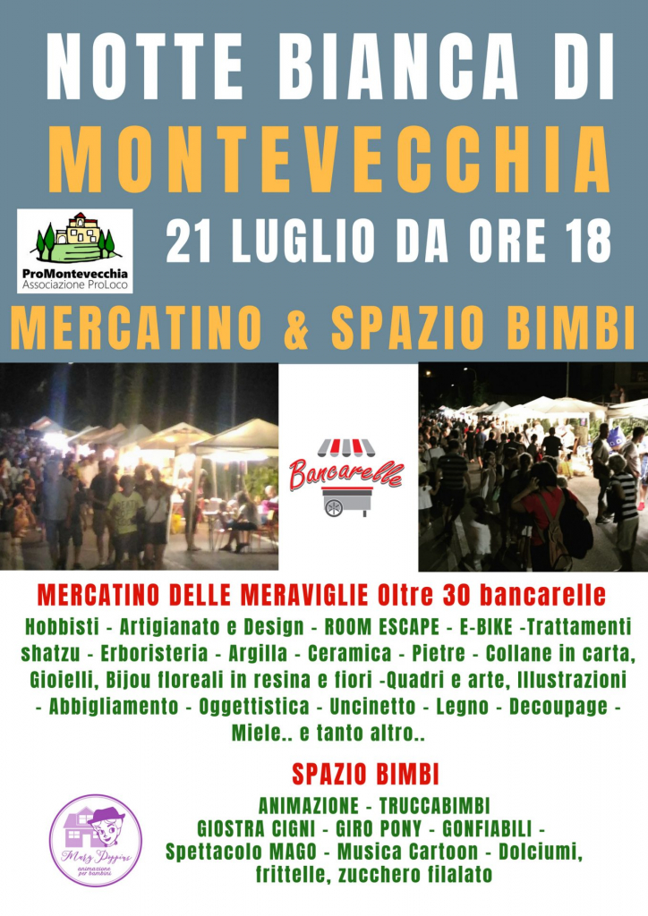 Mercatino & Spazio Bimbi Notte Bianca Montevecchia 2018