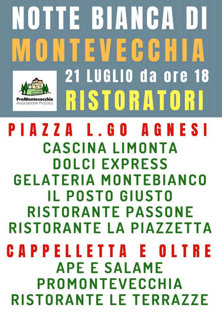 Ristoratori Notte Bianca Montevecchia 2018